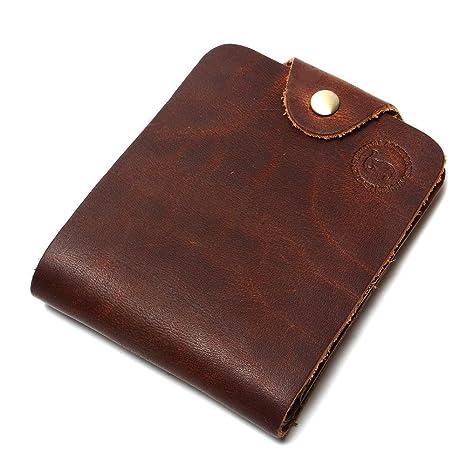 Cartera CattleK para hombre Cierre de broche marrón, Doble, Tarjeta de crédito Vintage simple
