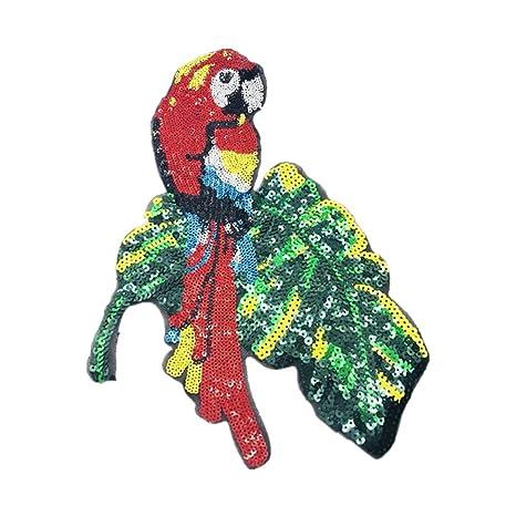 Wicemoon 1pcs Loro Rojo Parche Lentejuelas Bordados Parches Costura Para Abrigo Chaqueta de Vestir 28cm*