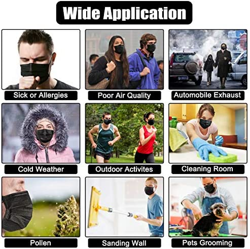 50 Pcs Disposable Face Masks, Acewin 3-Ply Face Mask, Breathable Facial Mask With Elastic Ear Loops & Adjustable Nose Wire, Disposable Masks Dust Mask for Adult, Men, Women, Indoor Outdoor Use (Black)