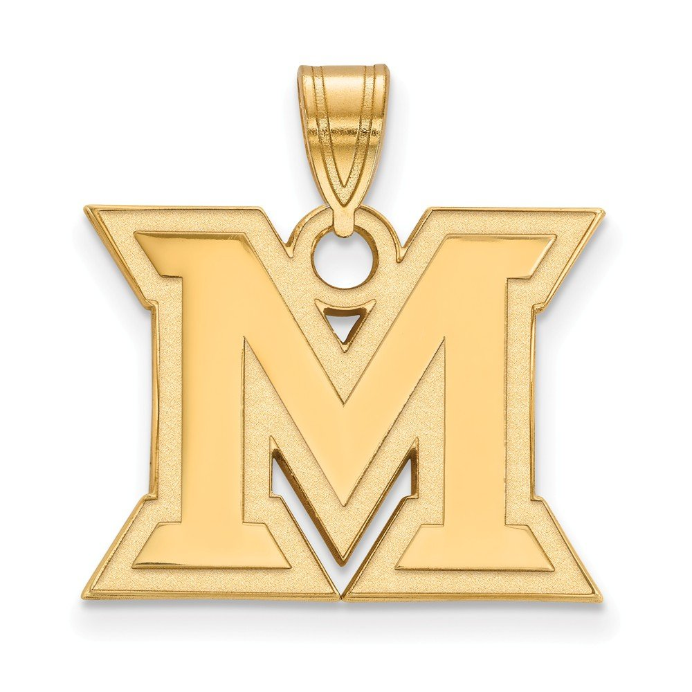 Solid 925 Sterling Silver with Gold-Toned Miami University Medium Pendant 20mm x 24mm