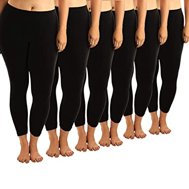 bd8fc183525137 Women's Solid Leggings Plus Size (6-Pack) (1XL, Black (6)) at Amazon ...