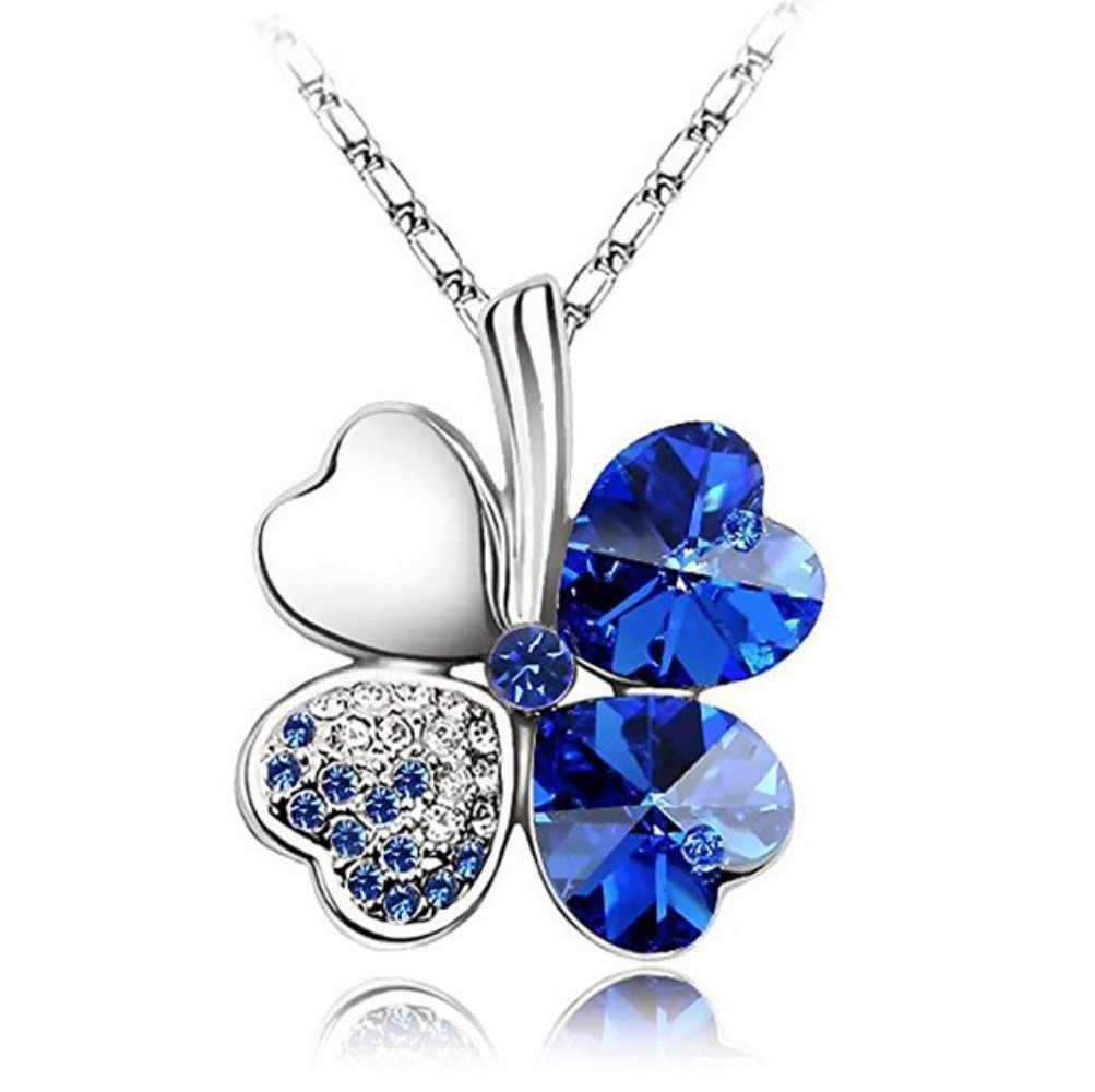 MAXGOODS Four Leaf Clover Heart-shaped Crystal Pendant Necklace HAS0156