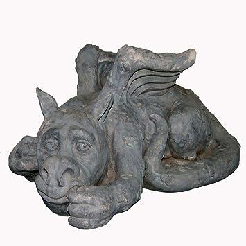 Figura Decorativa para jardín Acostado Las Alas Del Monstruo De Resina Impermeable Estatua Del Jardín Del