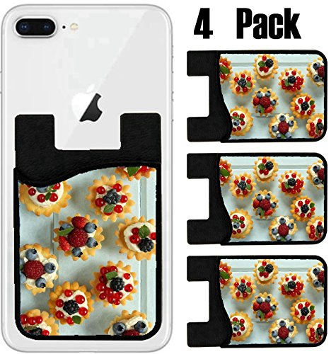 MSD Phone Card holder, sleeve/wallet for iPhone Samsung Android and all smartphones with removable microfiber screen cleaner Silicone card Caddy(4 Pack) IMAGE ID 28715578 Fresh delicious fruit tarts w by MSD