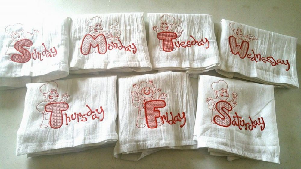 Chef's of the Week Flour Sack Towel Set by Forget Me Knot Embroidery