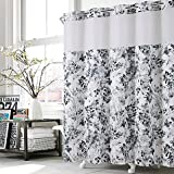 Black Hookless Shower Curtain Hookless Watercolor Floral Shower Curtain in Black/White 74