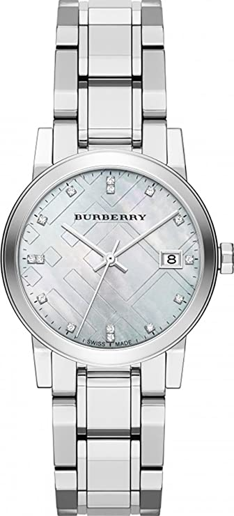 fa3b8e442ff3 Amazon.com  Burberry Diamond Accent Stainless Steel Ladies Watch BU9125   BURBERRY  Watches