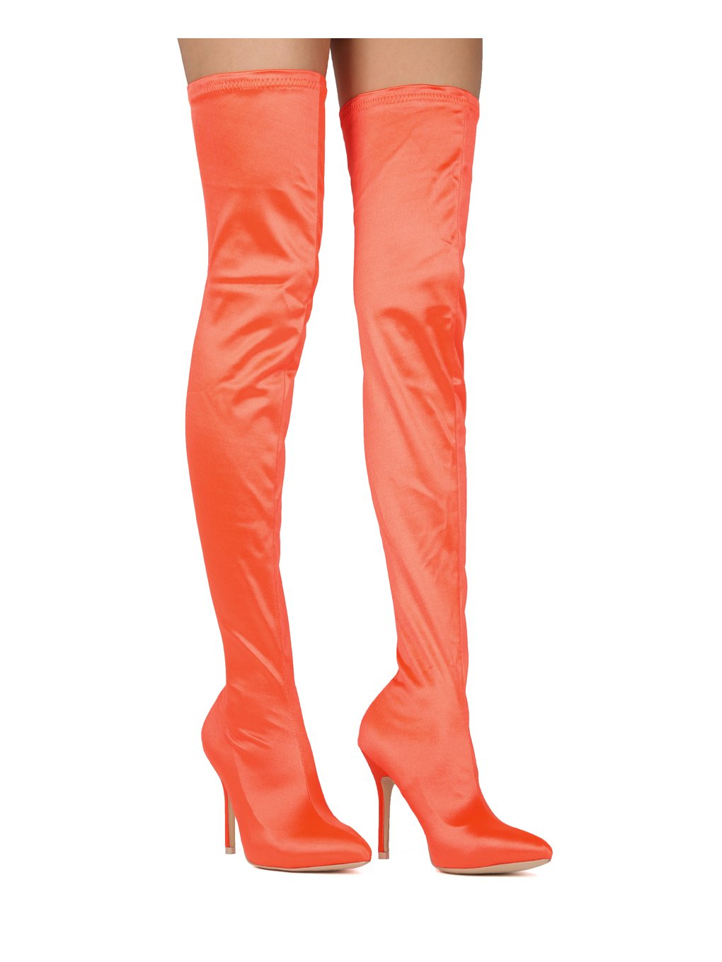 Alrisco Women Satin Thigh High Pointy Toe Stiletto Stocking Boot HE61 - Orange Satin (Size: 9.0)