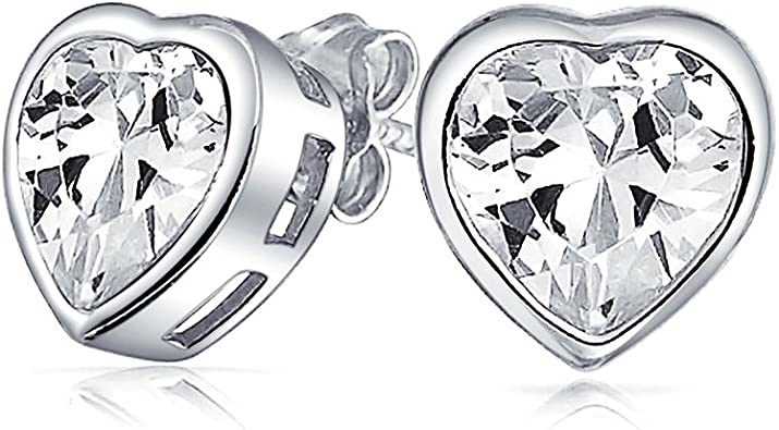 10MM Solitaire Stud Earrings 14K White Gold Over .925 Sterling Silver For Womens Bezel Set Round Cut Created Gemstones