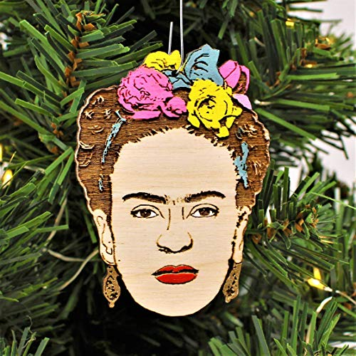 Frida Flower Crown Christmas Ornament | Hand Made Stocking Stuffer Holiday Decoration for Artists