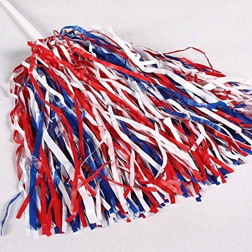Red, White & Blue Spirit Pom Poms (Red, White & Blue, 10 Pack) ()