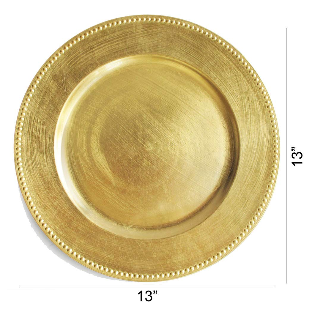 Set of 2,4,6 12 or 24 Dinner Chargers 12-Pack Silver Chargers Plates Tiger Chef 13-inch Silver Round Beaded Charger Plates