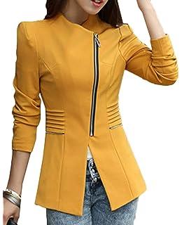 Femme Veste Manches Longues Slim Fit avec Zip Blazer Printemps Automne Mode  Décontracté Elégante Office Affaires 6052bfc9f18