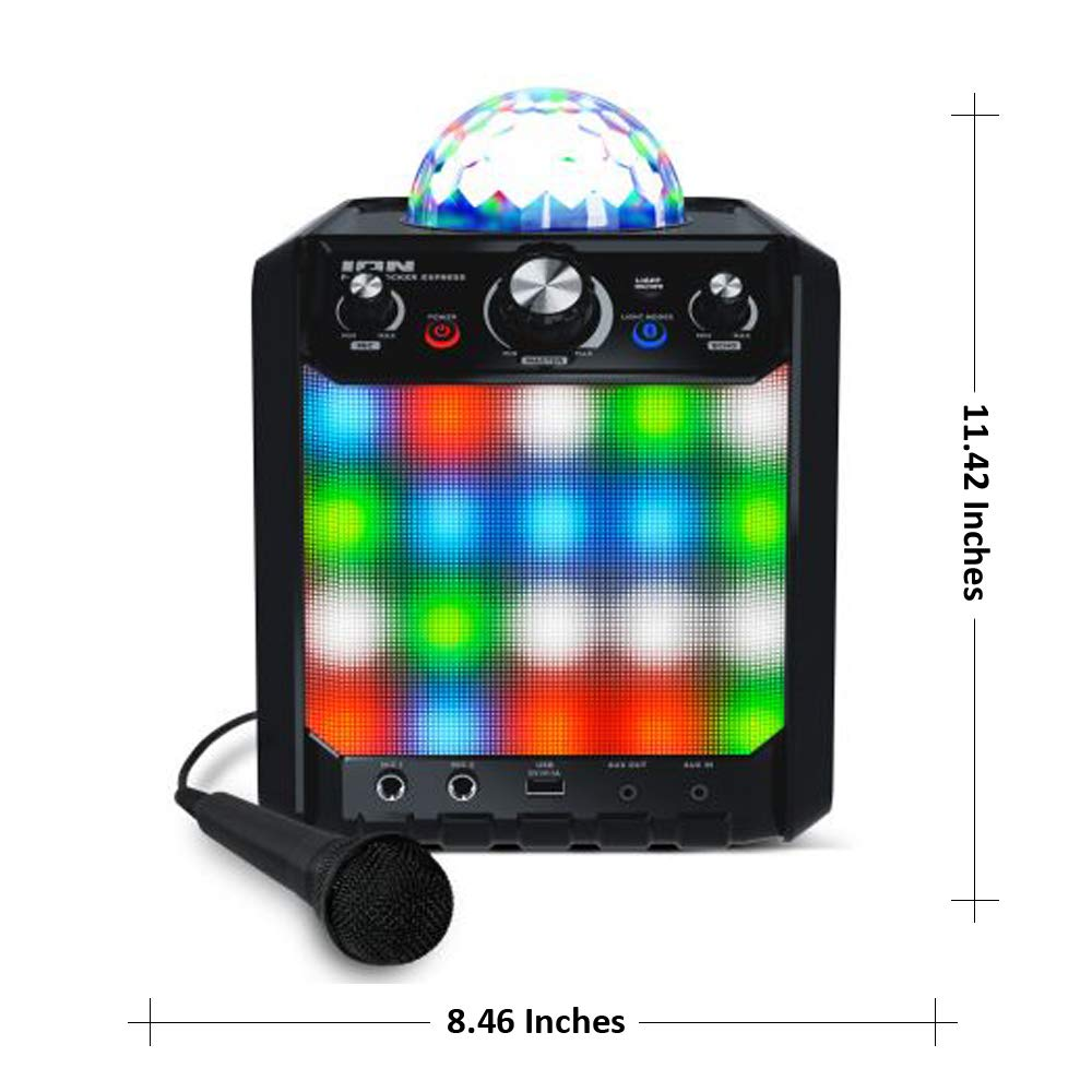 ION Audio Party Rocker Express - Altavoz Bluetooth para Fiestas y Karaoke con Batería de 40W y Centro de Karaoke con Pantalla de Luz de Fiesta en ...
