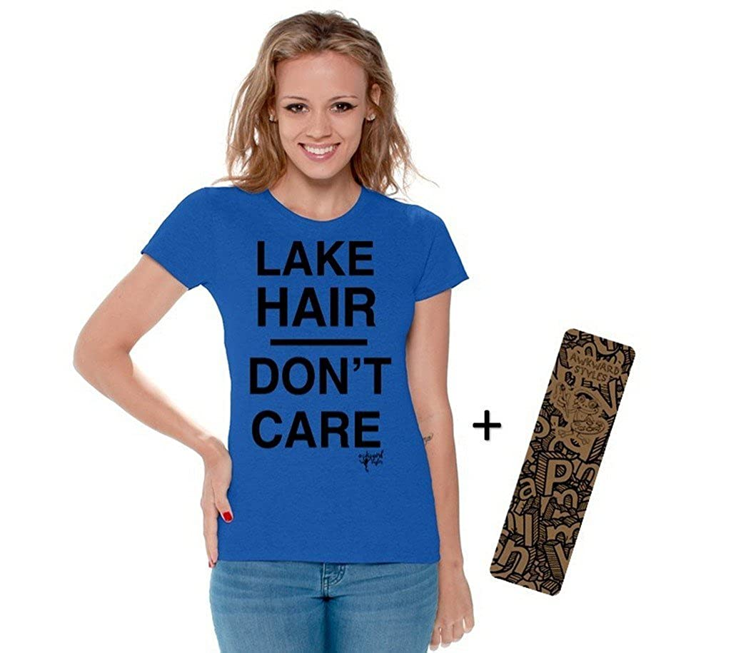 Awkwardstyles Women's Lake Hair Don't Care T-Shirt Vacation Shirt + Bookmark