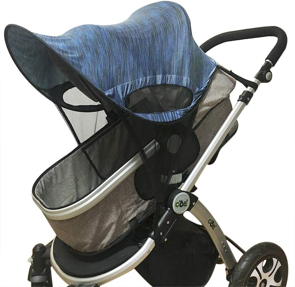 Universal Baby Stroller Sun Shade Cover Pushchair Stroller Prams Buggies Wide Sunblock Sun Shade Canopy UV Protection Sunshade Curtain Mosquito Net Navy Blue