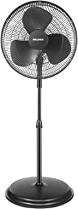 PELONIS PFS40A2ABB 16'' 3-Speed Pedestal, Standing Fan for Home and Office, 85° Oscillation and Adjustable in Height, Black, 16 Inch