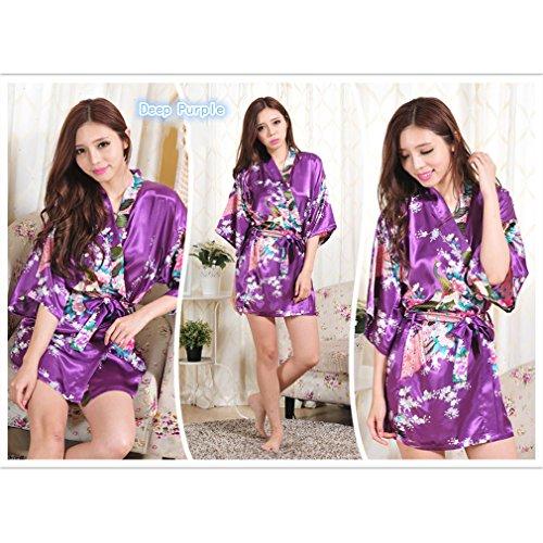 e Donna Raso Pigiami Allattamento da Accappatoi Viola e WYSMOL Camicie scuro Pavone Kimono Notte Vestaglie wTRnqtP