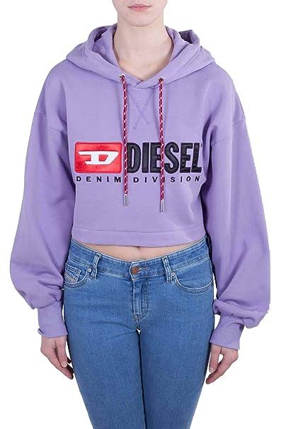 664f18688f Diesel Donna - Felpa Cropped in Cotone Lilla con Logo Denim Division ...