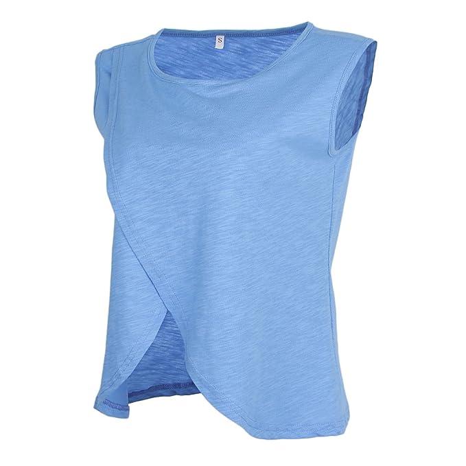 Homyl Camiseta Sin Mangas Lactancia Capas Dobles Poliéster Verano Ropa Mujer Embarazada Suave Tacto - Azul