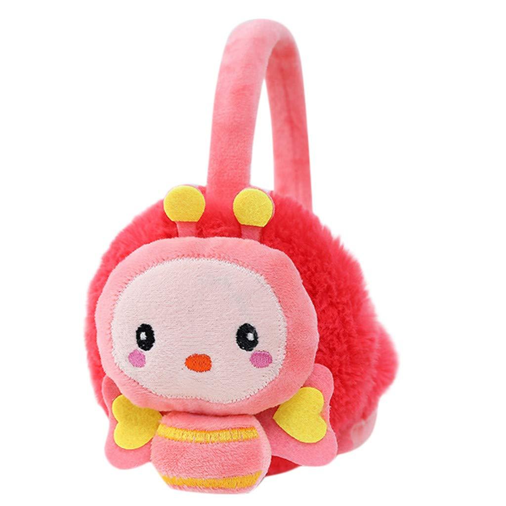 Lightning Deals Earmuffs, ZYooh Young Girls Kids Cartoon Bee Ears Design Windproof Warm Adjustable Ear Warmers (Watermelon Red)