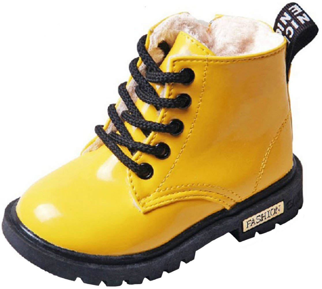 PPXID Boy's Girl's Waterproof Lace-up Boots(Baby boy/Baby Girl/Toddler/Little Kid/Big Kid)-Yellow 9 US Size