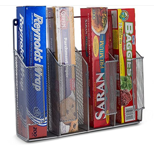 Wall / Cabinet Door Mount Kitchen Plastic Wrap, Food Storage Bags, Silver Foil Storage Organizer Kitchen Caddy Mesh Metal