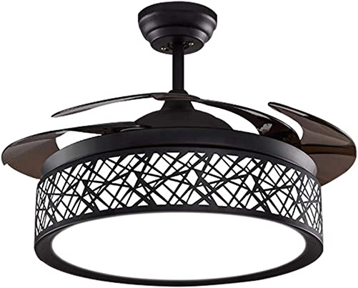 42In Modern Ceiling Fan with Lights Remote Control Pendant Chandelier Fixtures LED Lighting Silent Retractable Blades 3 Light Colors, 3 Light Changing, Black Bird Nest Lamp for Living room, Bedroom