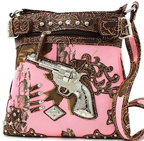 Brown Mossy Body Cross Messenger Camo Purse Bullets Pink Guns Style OqxB7ndwa