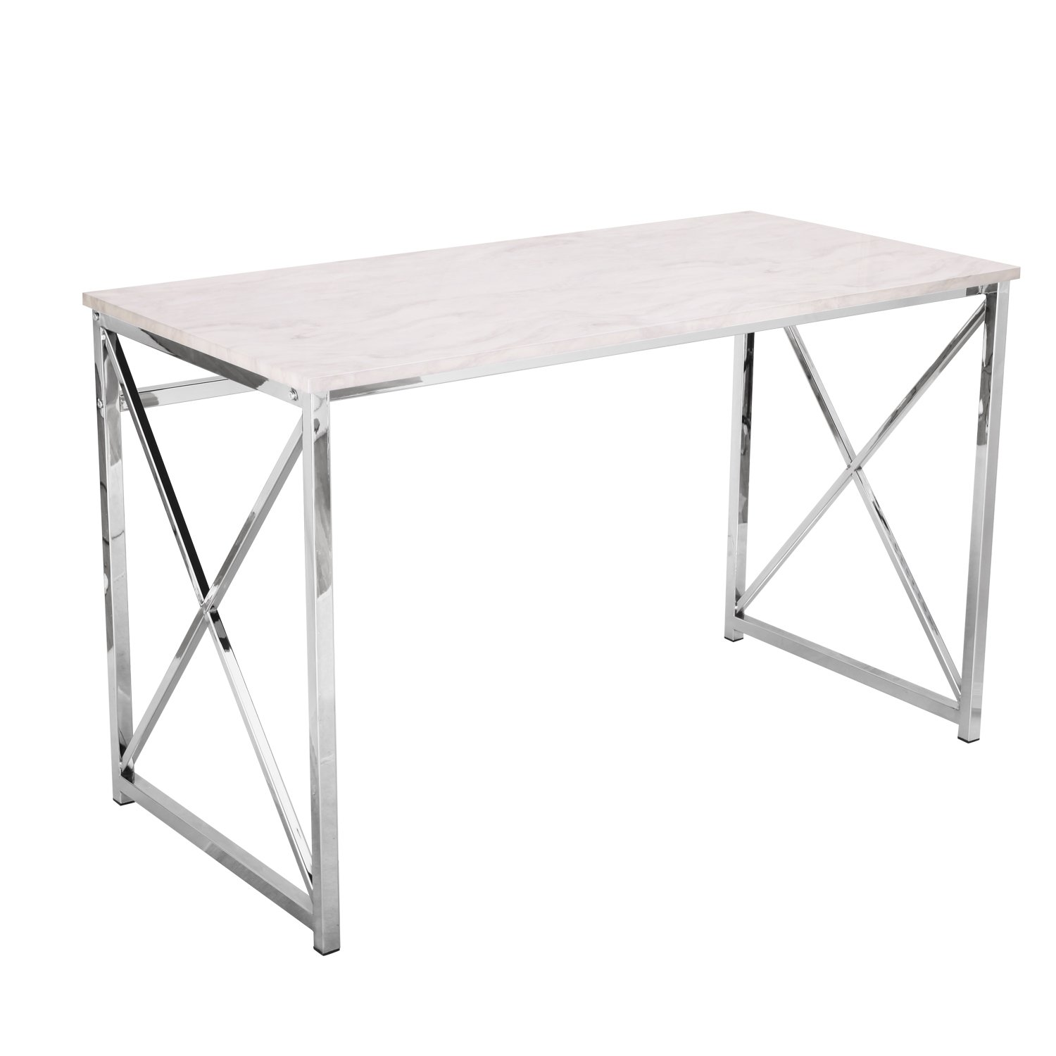 Adeco 48x24 inches Computer Desk with Marble Style Table top with Chrome Metal Cross legs, Heights 30 Inches
