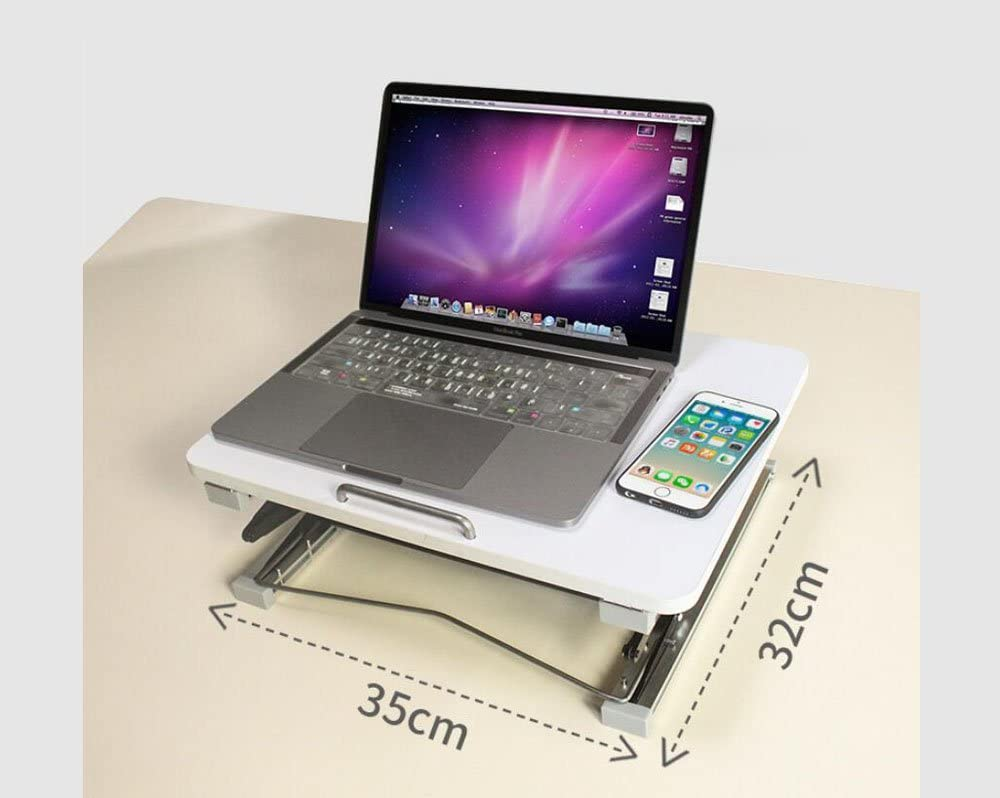 LUYIYI Folding Computer Desk Color : White, Size : Without Mouse Notebook Stand Adjustable Non-Slip Aluminium Laptop Table with Mouse Platform for Office