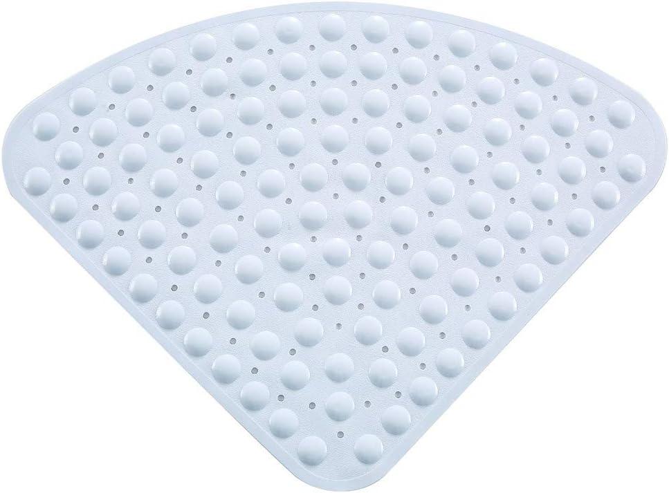 Anti-Slip Bath Mat YIYU Bathtub Mats White PVC Triangle with Sucker Corner Fan-Shaped Shower Pad Carpet Bathroom Accessories