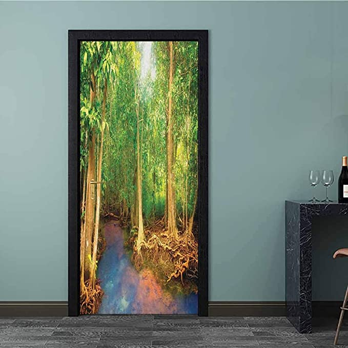Rainforest 8x10 FT Photography Backdrop Roots of Mangrove Trees with Turquoise Creek Nature Wildlife Themed Print Background for Baby Birthday Party Wedding Vinyl Studio Props Photography Green Brow