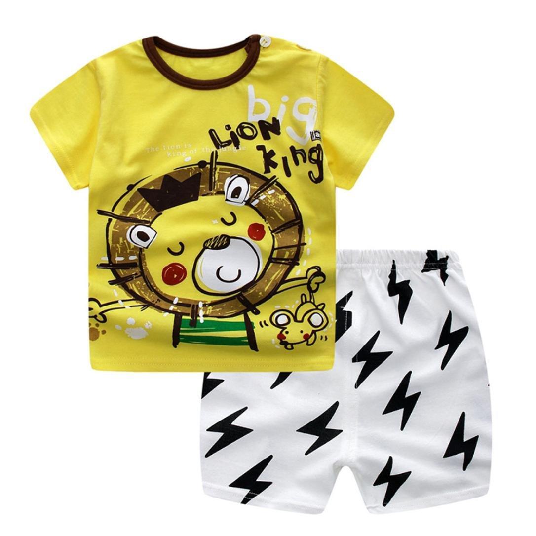 Jimmackey 2pcs Neonato Unisex T-Shirt Stampa Leone Camicia Cime + Stampato Pantaloncini Abiti Set