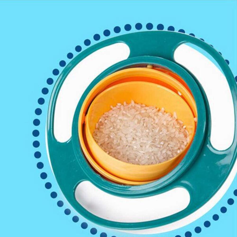 XuBa 360 Degree Rotary Gyro Shape Balance Bowl for Kids Infant Bbay Feeding Blue