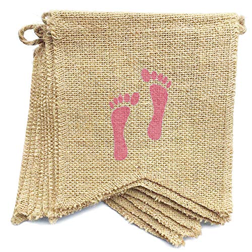 dealzEpic - It's A Girl - Rustic Burlap Banners with Pink Feet Prints for Baby Girl Gender Reveal Party -