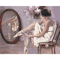 AIRZHANG Pintura por número DIY Pintura al óleo Lienzo Silla Zapatillas de Ballet Adultos y niños Kit de Pintura al óleo y Pincel para Decoraciones Regalos16x20inch (40x50cm) [Sin Marco]
