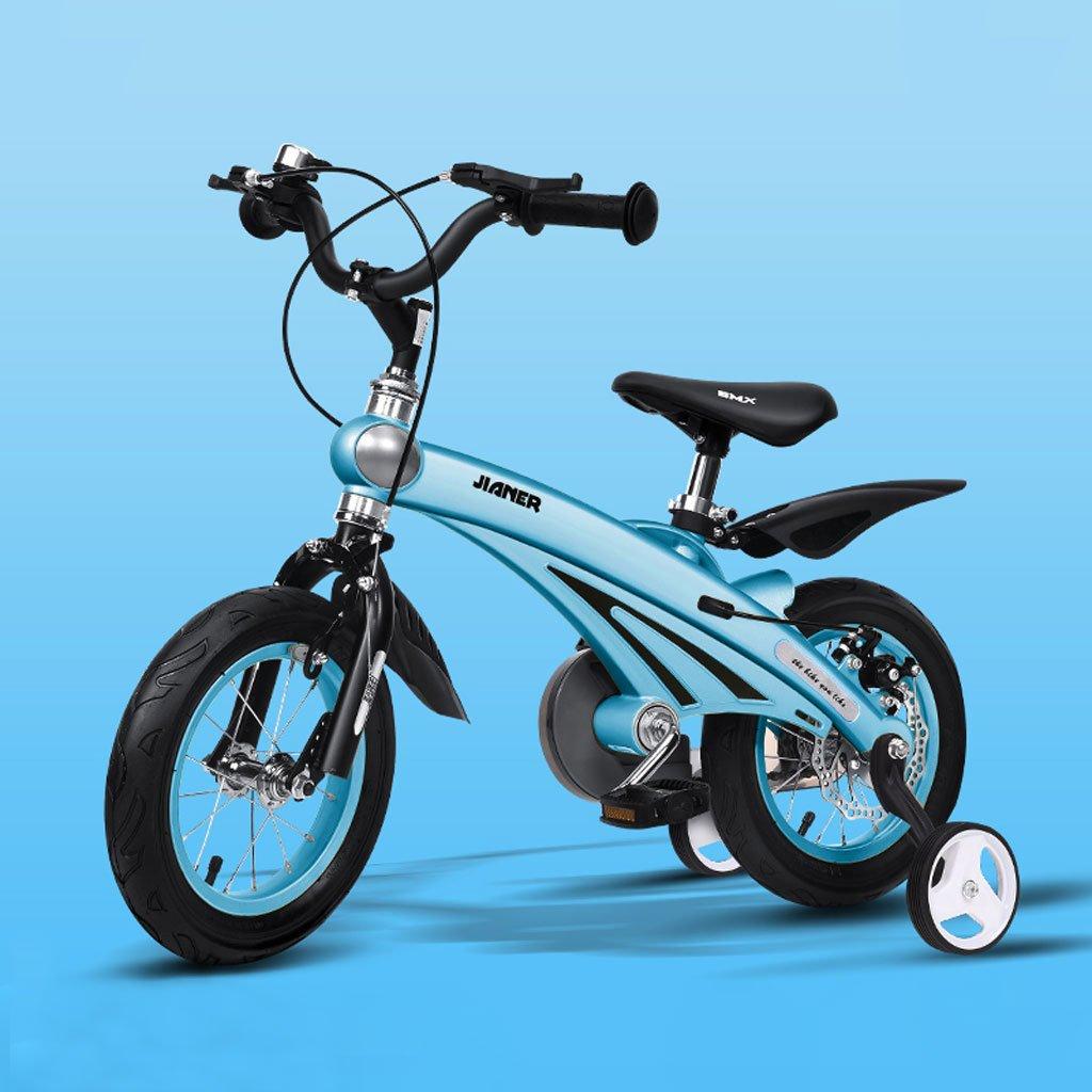 子供の自転車マグネシウム合金のベビーバイク2-4歳のベビーカー12インチキッズバイク、シャンパンゴールド/ピンク/イエロー/ブルー (Color : Blue) B07CV9Q361