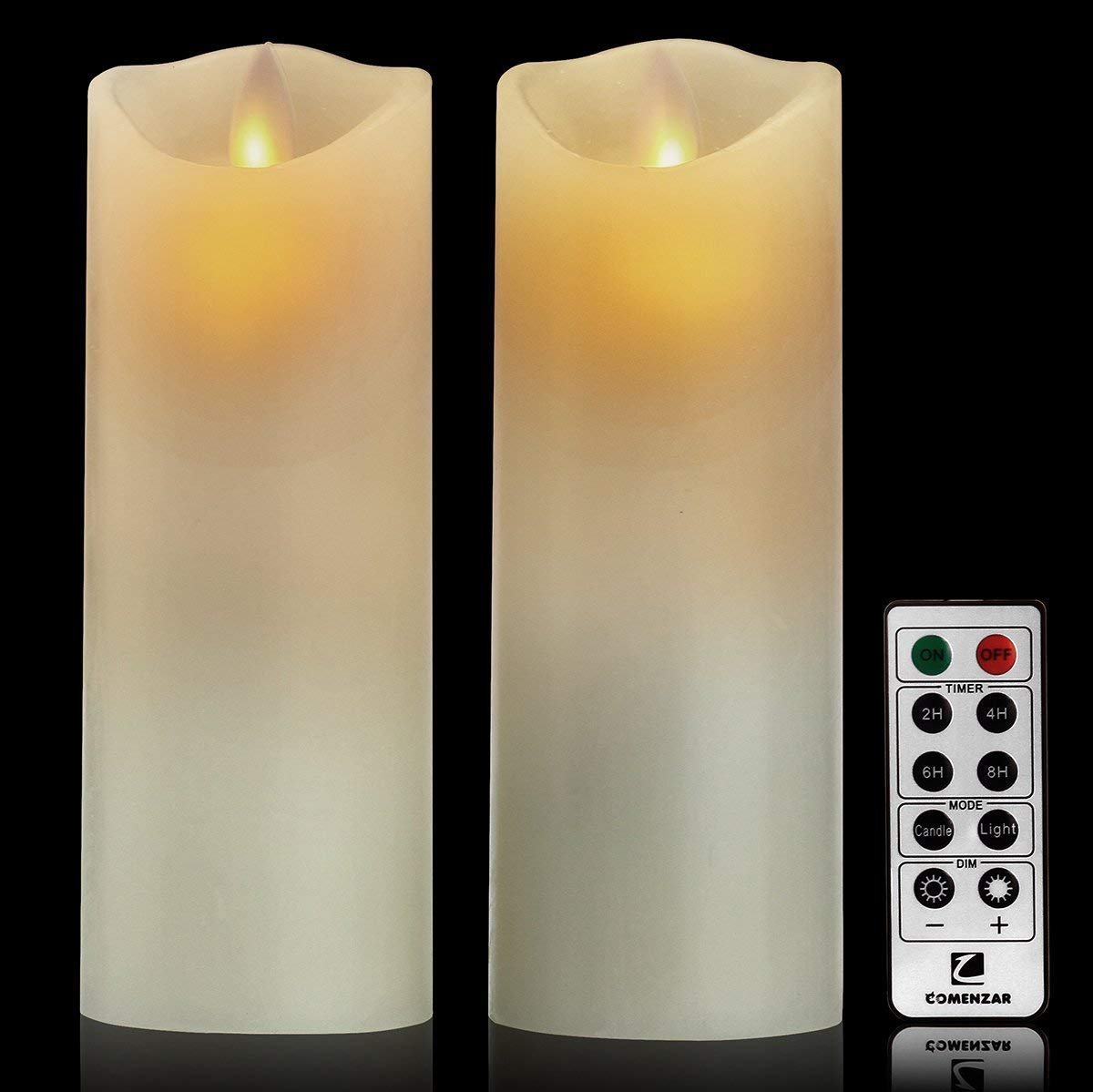 comenzar Flameless Candles Flickering Flameless Candles LED Candles Set of 2-6inch x 2pcs Battery Candles Real Wax Pillar with 10-key Remote Control White Color - 2/4/6/8 Hours Timer by comenzar