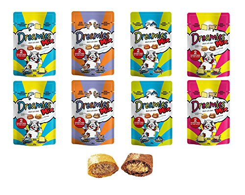 Dreamies Bulk Buy 8 Packs Of Mixed (2 Of Each Flavour), See Which One Your Cat Or Kitten Loves The Most! Save On Postage By Bulk Buying! 8 X 60G Bags (480G (Save Postage)