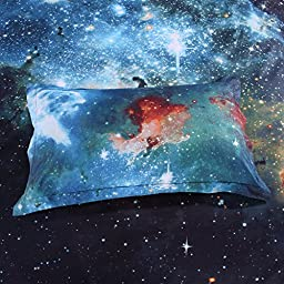 LELVA Galaxy Bedding Set Galaxy Duvet Cover Set Kids Bedding for Boys and Girls Teens Bedding Full Queen Size (1, Twin)