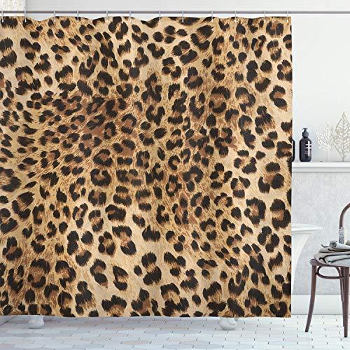 Ambesonne Leopard Print Shower Curtain, Skin Pattern of a Wild Safari Animal Powerful Panthera Big Cat, Cloth Fabric Bathroom Decor Set with Hooks, 70 Long, Brown Beige