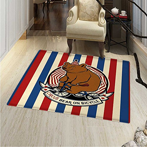 Bear Area Rug Circus Bear on Bicycle Carnival Theme Cute Mascot Hat on Striped Backdrop Indoor/Outdoor Area Rug 2'x3' Ruby Blue Brown