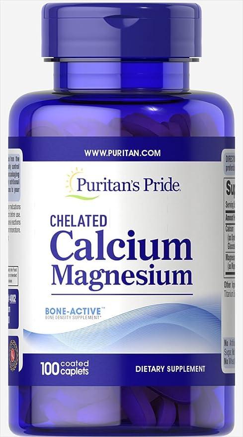 Puritans Pride Calcium Magnesium Chelated 500 mg/250 mg 100 caplets