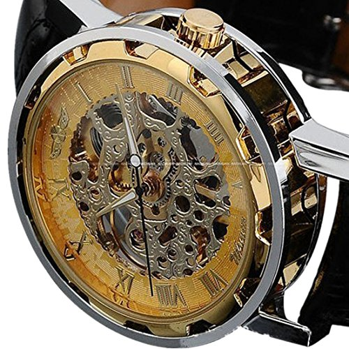Voberry® Classic Men's Leather Dial Skeleton Mechanical Sport Army Wrist Watch (Gold) ()