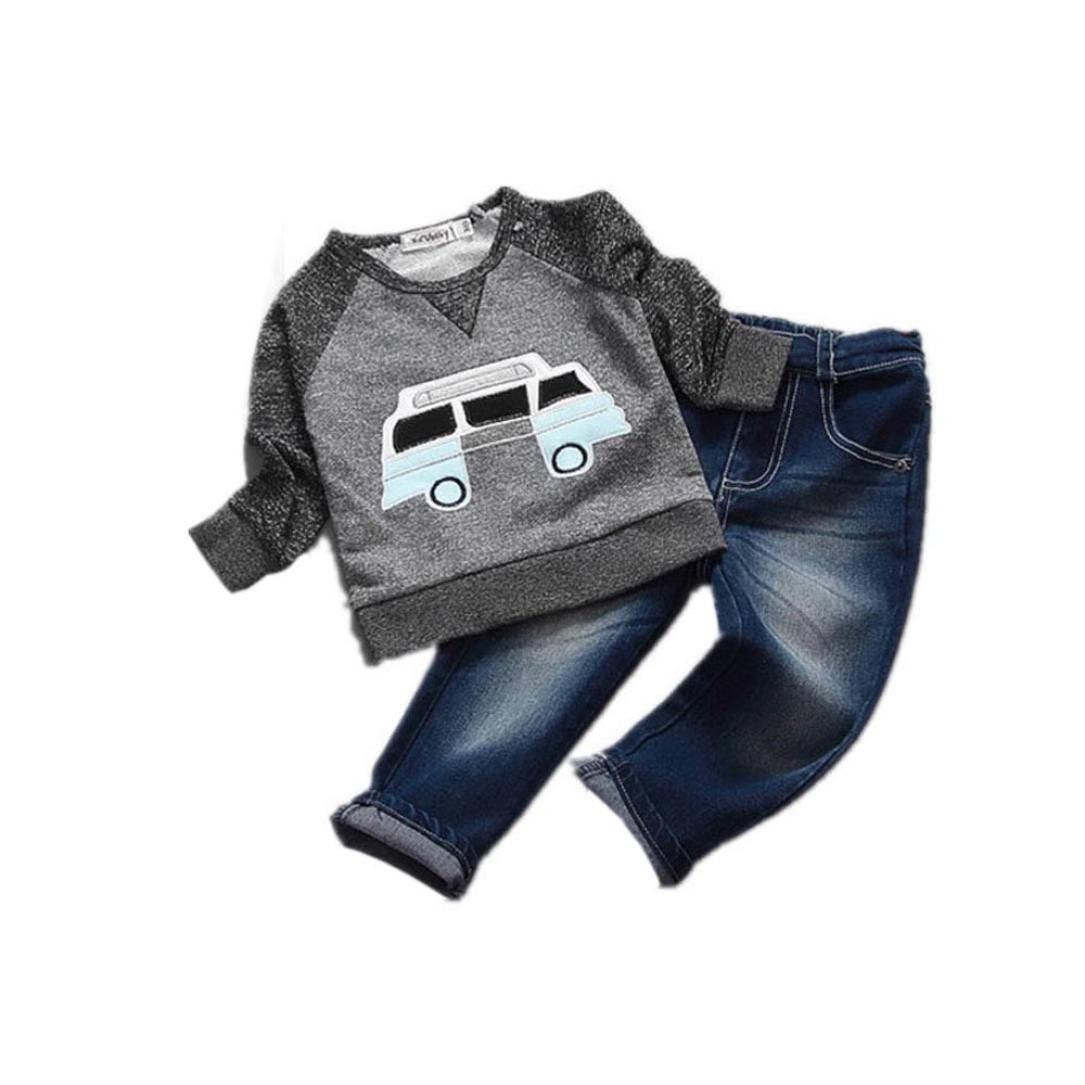 Internet for 2-6 Years Old Toddler Boys Clothes Car Print T-Shirt Tops+Long Jeans Trousers