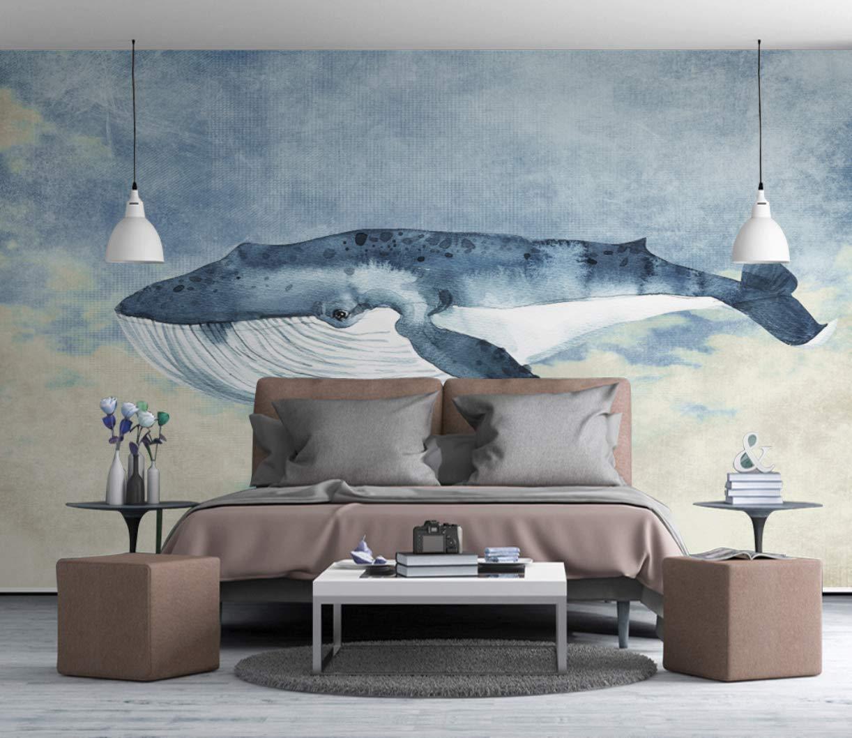 Amazon Com Blue Background Big Whale Cartoon Nursery Wallpaper