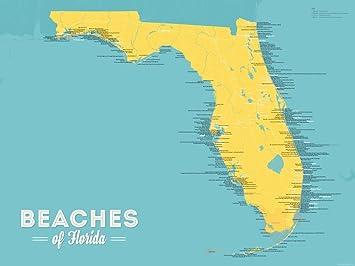Maps Of Florida Beaches.Amazon Com Florida Beaches Map 18x24 Poster Marigold Turquoise