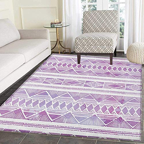 - Watercolor Area Silky Smooth Rugs Tribal Triangle Motifs Ethnic Design Hand Drawn Borders Aztec Native Floor Mat Pattern 4'x6' Violet Lilac White