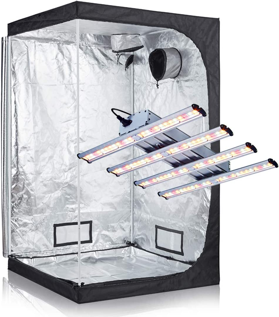 BloomGrow Hydroponics 48 x48 x80 600D High Reflective Mylar Grow Tent 1200W LED Real Full Spectrum Professional LED Grow Light Strips Indoor Grow Tent Complete Kit 48 x48 x80 Grow Kit